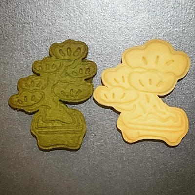 発酵バターが香るプレーンと緑鮮やかな抹茶の盆栽クッキー。