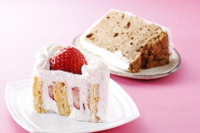 いちごのショートケーキ480円・紅茶のシフォンケーキ420円。
