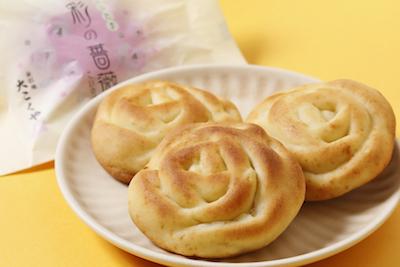 中央区のバラをかたどった焼菓子「彩のバラ」は埼玉銘菓120円〜。